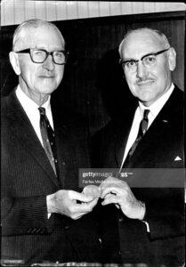 Sir Hudson Fysh (left) receiving the medal from the President Royal Federation of Aero Clubs of Australia, Mr G.A. (Peter) Lloyd Jnr O.B.E. (1967)